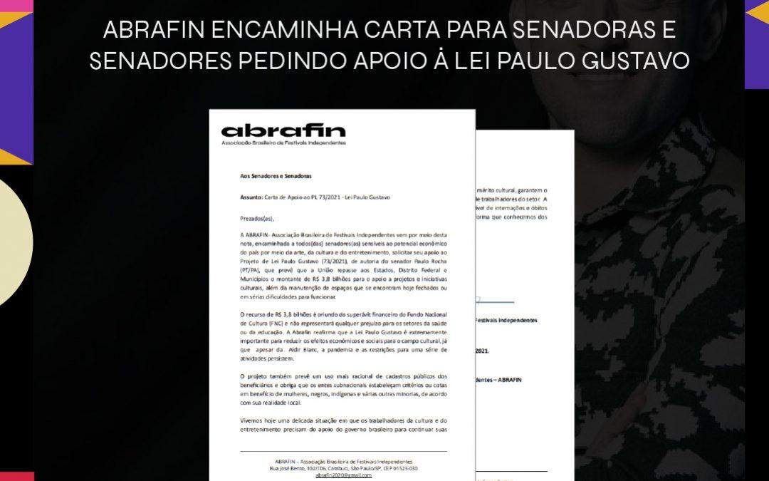 ABRAFIN ecaminha carta para senadoras e senadores pedindo apoio à Lei Paulo Gustavo
