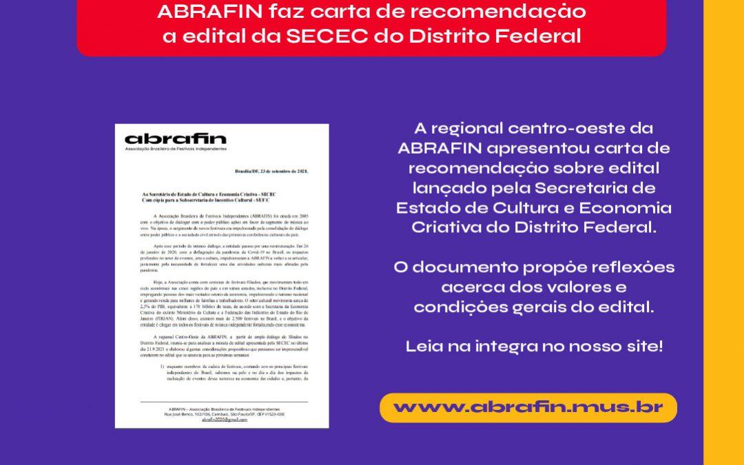 ABRAFIN encaminha carta de recomendação sobre edital da fomento à arte e cultura do Distrito Federal